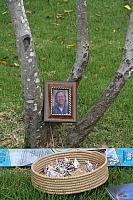 Ladon's Grave and his photo. Paper cranes were later hung on the tree.4410