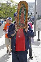 Bobby carrying statue of Our Lady of Guadalupe.5524